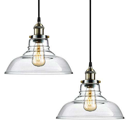 Vintage Brass Track Lighting: 2-PACK Arvidsson Industrial Hanging Lamp, Vintage Glass